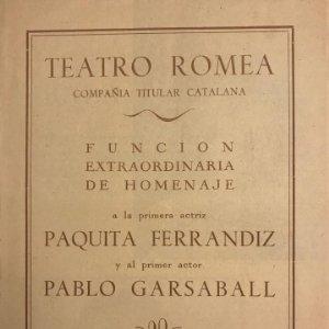 Teatro Romea. Paquita Ferrandiz. Pablo Garsaball 16,2x21,9 cm