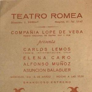 1948 Teatro Romea. El águila de dos cabezas 12,4x34,4 cm