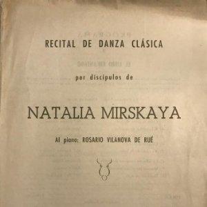 1954 Teatro Romea. Programa de mano. Recital de danza clásica. Natalia Mirskaya 17,4x24,6 cm