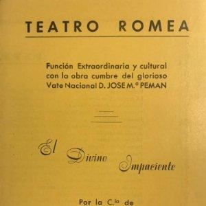 1954 Teatro Romea. Programa de mano. El divino impaciente 11,6x24,6 cm