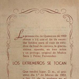 1953 Teatro Romea. Programa de mano. Los extremeños se tocan 10,9x15,9 cm