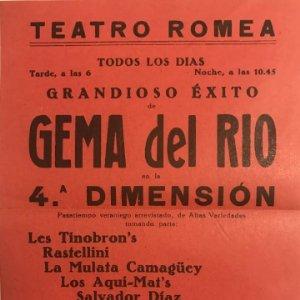 Teatro Romea. Programa de mano. Gema del Río en la 4ª Dimensión 15,4x21,6 cm
