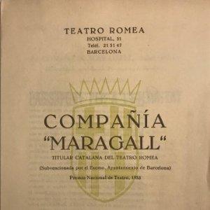 1957 Teatro Romea. Programa de mano. Compañía Maragall. Passaport per a l'eternitat 17,3x23,9 cm