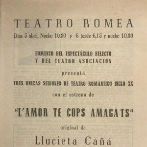Teatro Romea. Programa de mano. L'amor te cops amagats 12,5x17,3cm
