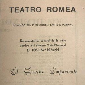 Teatro Romea. Programa de mano. El divino impaciente 11x15,9 cm
