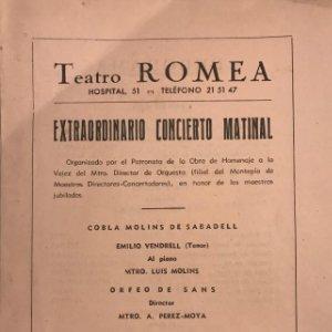Teatro Romea. Programa de mano. Extraordinario concierto matinal 13,9x21,8 cm