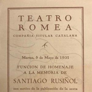 1951 Teatro Romea. Programa de mano. L'auca del Senyor Esteve 13,8x19 cm