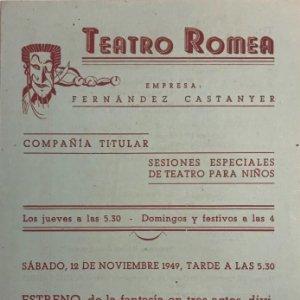 1949 Teatro Romea. Programa de mano. Lali 14,1x20,7 cm