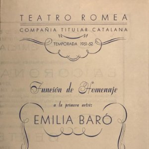 1952 Teatro Romea. Programa de mano. Emilia Baró. La corona d'espines 13,8x19,6 cm