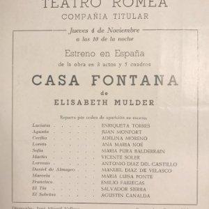 Teatro Romea. Programa de mano. Casa Fontana 14x16,1 cm