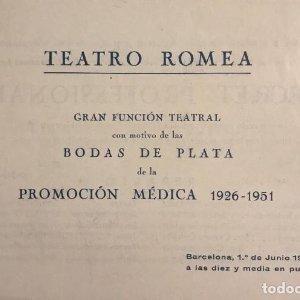 1951 Teatro Romea. Programa de mano. Secret professional? A la Casa de Socorro 15,3x10,6 cm