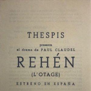 1950 Teatro Romea. Programa de mano. Rehén. L'otage 10,9x18,4 cm