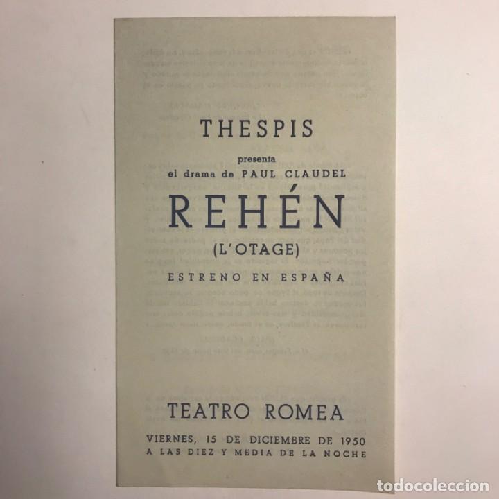 Coleccionismo: 1950 Teatro Romea. Programa de mano. Rehén. L'otage 10,9x18,4 cm - Foto 2 - 153234410