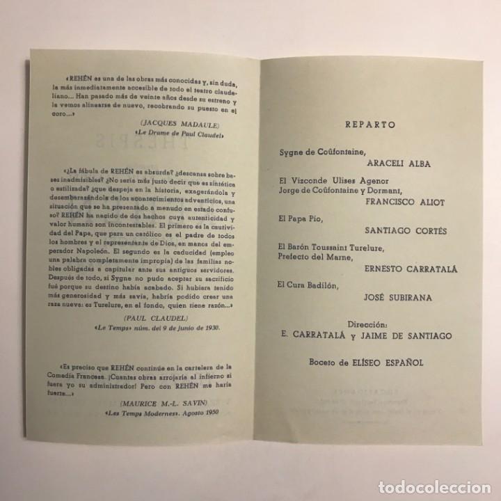 Coleccionismo: 1950 Teatro Romea. Programa de mano. Rehén. L'otage 10,9x18,4 cm - Foto 3 - 153234410
