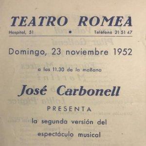 1952 Teatro Romea. Programa de mano. Canciones del ayer 12,5x17,5 cm