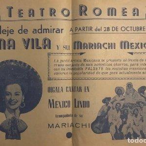 1947 Teatro Romea. Programa de mano. Irma Vila 31,8x21,8 cm
