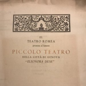 1954 Teatro Romea. Programa de mano. Piccolo teatro 17x23 cm
