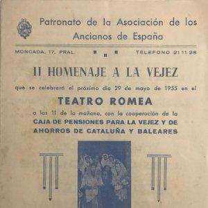 1955 Teatro Romea. Programa de mano. II Homenaje a la vejez 15,8x21,5 cm