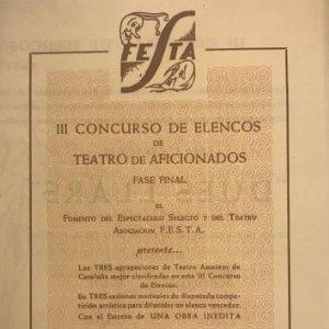 Teatro Romea. Programa de mano. Dues llars F.E.S.T.A. 13,9x20 cm