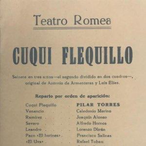 Teatro Romea. Programa de mano. Cuqui Flequillo 12,8x20,9 cm