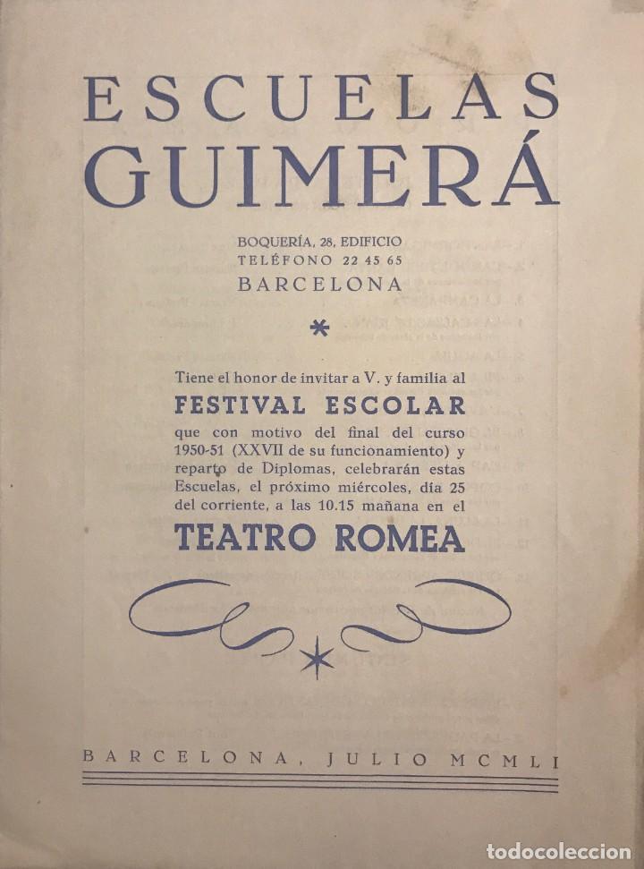 1951 TEATRO ROMEA. PROGRAMA DE MANO. ESCUELAS GUIMERÁ 16X21,5 CM (Coleccionismo - Laminas, Programas y Otros Documentos)