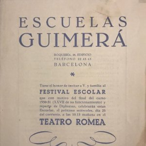 1951 Teatro Romea. Programa de mano. Escuelas Guimerá 16x21,5 cm