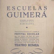 Coleccionismo: 1951 TEATRO ROMEA. PROGRAMA DE MANO. ESCUELAS GUIMERÁ 16X21,5 CM. Lote 153265362