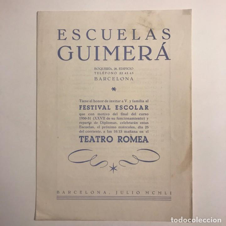 Coleccionismo: 1951 Teatro Romea. Programa de mano. Escuelas Guimerá 16x21,5 cm - Foto 2 - 153265362