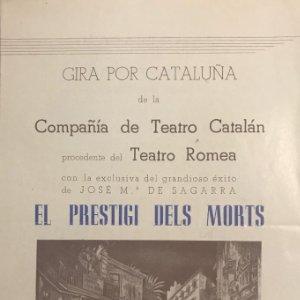 Teatro Romea. Programa de mano. El prestigi dels morts 14,9x22,2 cm