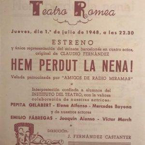 1948 Teatro Romea. Programa de mano. Hem perdut la nena! 13,8x16,2 cm
