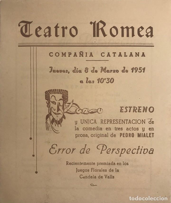 1951 TEATRO ROMEA. PROGRAMA DE MANO. ERROR DE PERSPECTIVA 13,7X16,2 CM (Coleccionismo - Laminas, Programas y Otros Documentos)