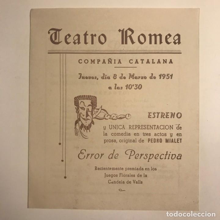 Coleccionismo: 1951 Teatro Romea. Programa de mano. Error de Perspectiva 13,7x16,2 cm - Foto 2 - 153265934
