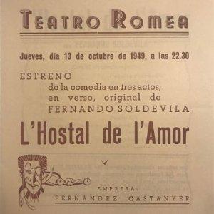 1949 Teatro Romea. Programa de mano. L'Hostal de l'Amor 13,8x15 cm