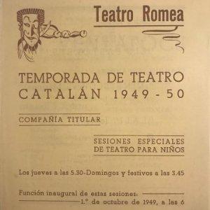 1949 Teatro Romea. Programa de mano. La Ventafocs 13,8x15,9 cm