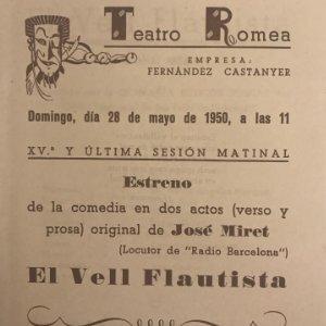 1949 Teatro Romea. Programa de mano. El Vell Flautista 13,8x15,9 cm
