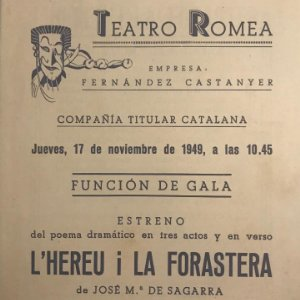 1949 Teatro Romea. Programa de mano. L'hereu i la forastera 13,8x15,9 cm