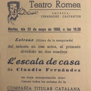 1950 Teatro Romea. Programa de mano. L'escala de casa 13,8x15,9 cm