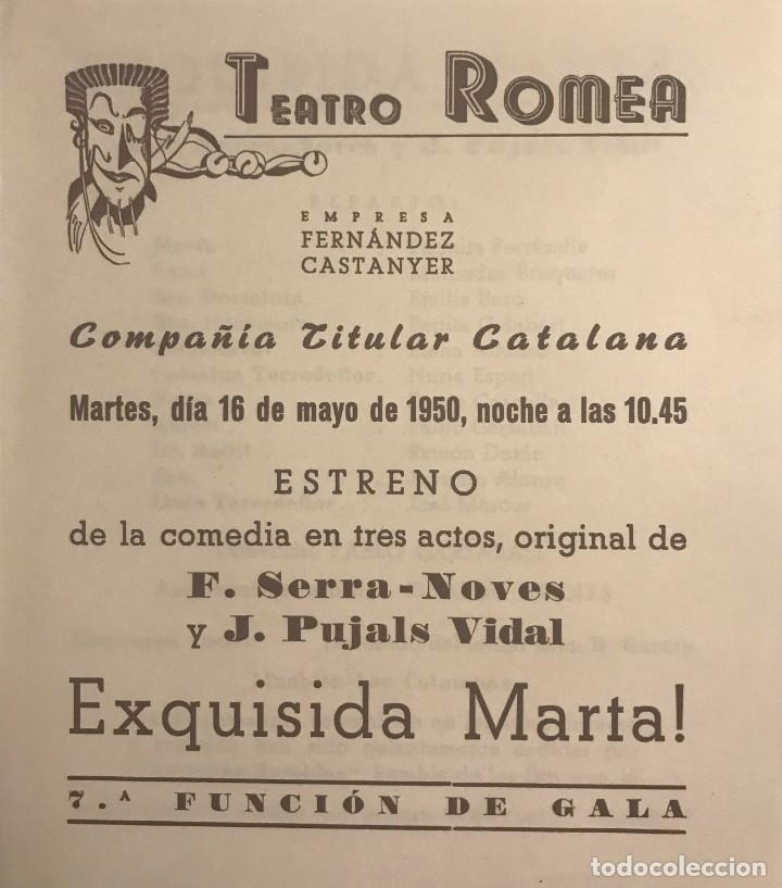 1950 TEATRO ROMEA. PROGRAMA DE MANO. EXQUISIDA MARTA! 13,8X15,9 CM (Coleccionismo - Laminas, Programas y Otros Documentos)