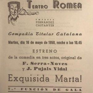 1950 Teatro Romea. Programa de mano. Exquisida Marta! 13,8x15,9 cm