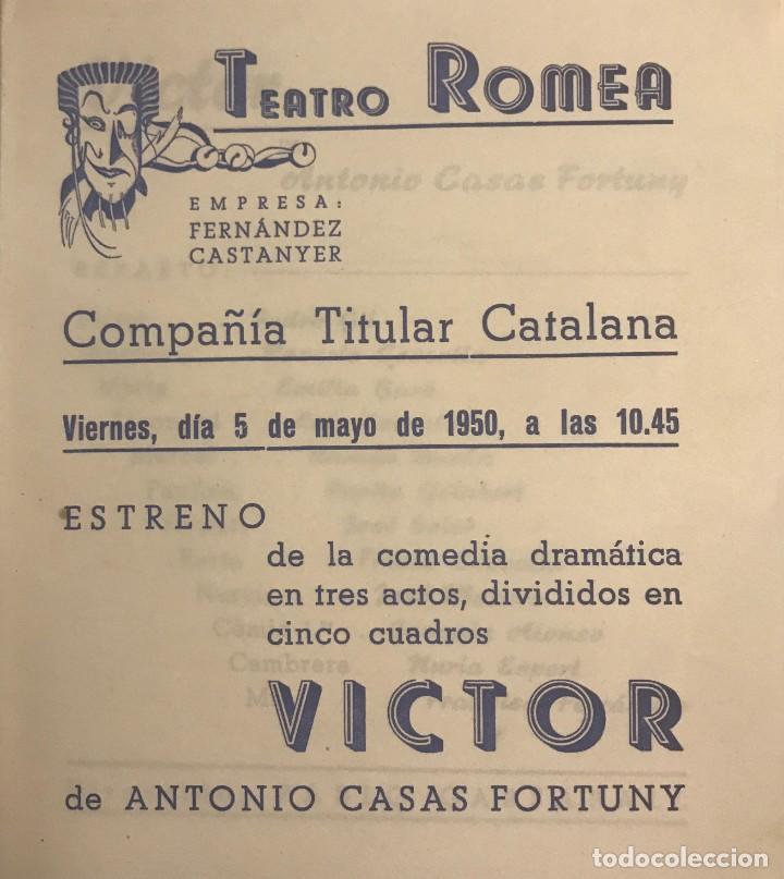 1950 TEATRO ROMEA. PROGRAMA DE MANO. VICTOR 13,8X15,9 CM (Coleccionismo - Laminas, Programas y Otros Documentos)