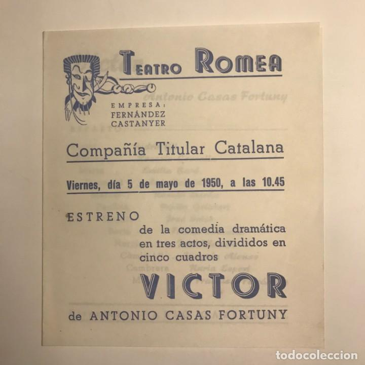 Coleccionismo: 1950 Teatro Romea. Programa de mano. Victor 13,8x15,9 cm - Foto 2 - 153268110