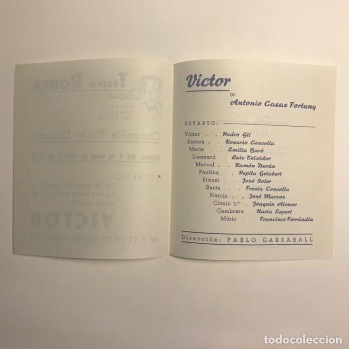 Coleccionismo: 1950 Teatro Romea. Programa de mano. Victor 13,8x15,9 cm - Foto 3 - 153268110