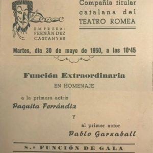 1950 Teatro Romea. Programa de mano. Mar i Cel 13,8x15,9 cm