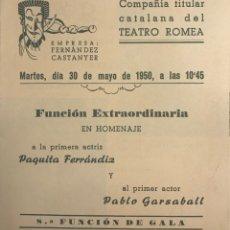 Coleccionismo: 1950 TEATRO ROMEA. PROGRAMA DE MANO. MAR I CEL 13,8X15,9 CM. Lote 153268338