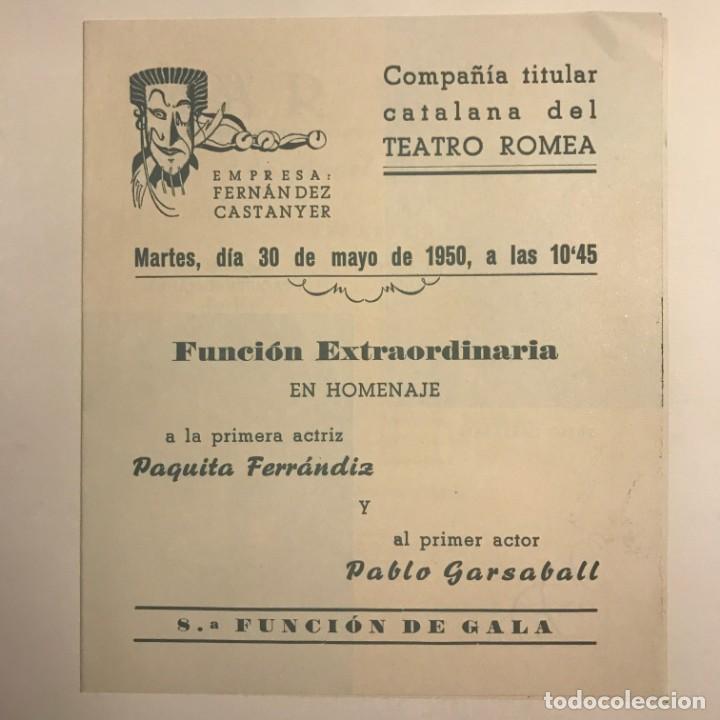 Coleccionismo: 1950 Teatro Romea. Programa de mano. Mar i Cel 13,8x15,9 cm - Foto 2 - 153268338