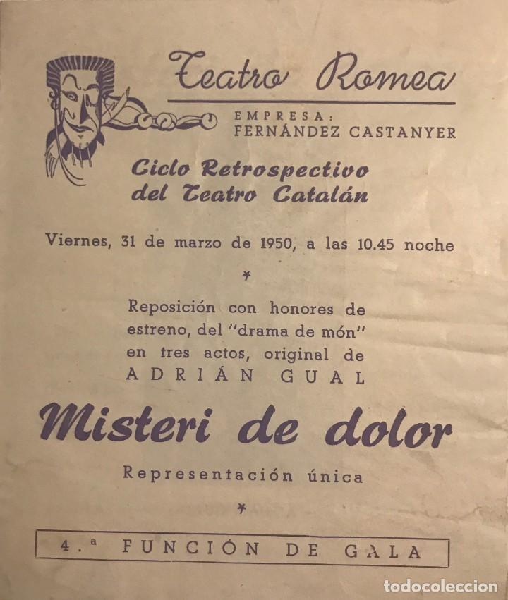 1950 TEATRO ROMEA. PROGRAMA DE MANO. MISTERI DE DOLOR 13,8X15,9 CM (Coleccionismo - Laminas, Programas y Otros Documentos)