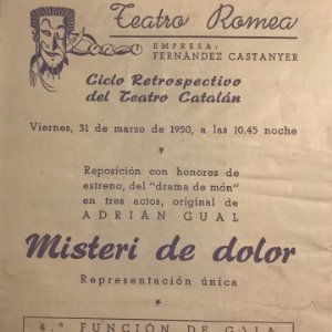 1950 Teatro Romea. Programa de mano. Misteri de dolor 13,8x15,9 cm
