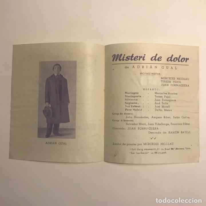 Coleccionismo: 1950 Teatro Romea. Programa de mano. Misteri de dolor 13,8x15,9 cm - Foto 3 - 153268442