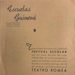 1950 Teatro Romea. Programa de mano. Escuelas Guimerá. Festival escolar 15,8x21,6 cm
