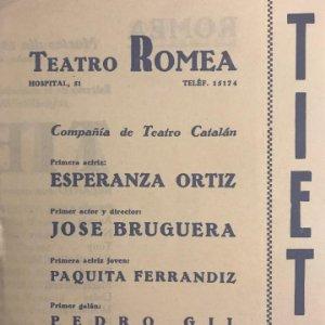 1947 Teatro Romea. Programa de mano. Tieta 13,5x17 cm
